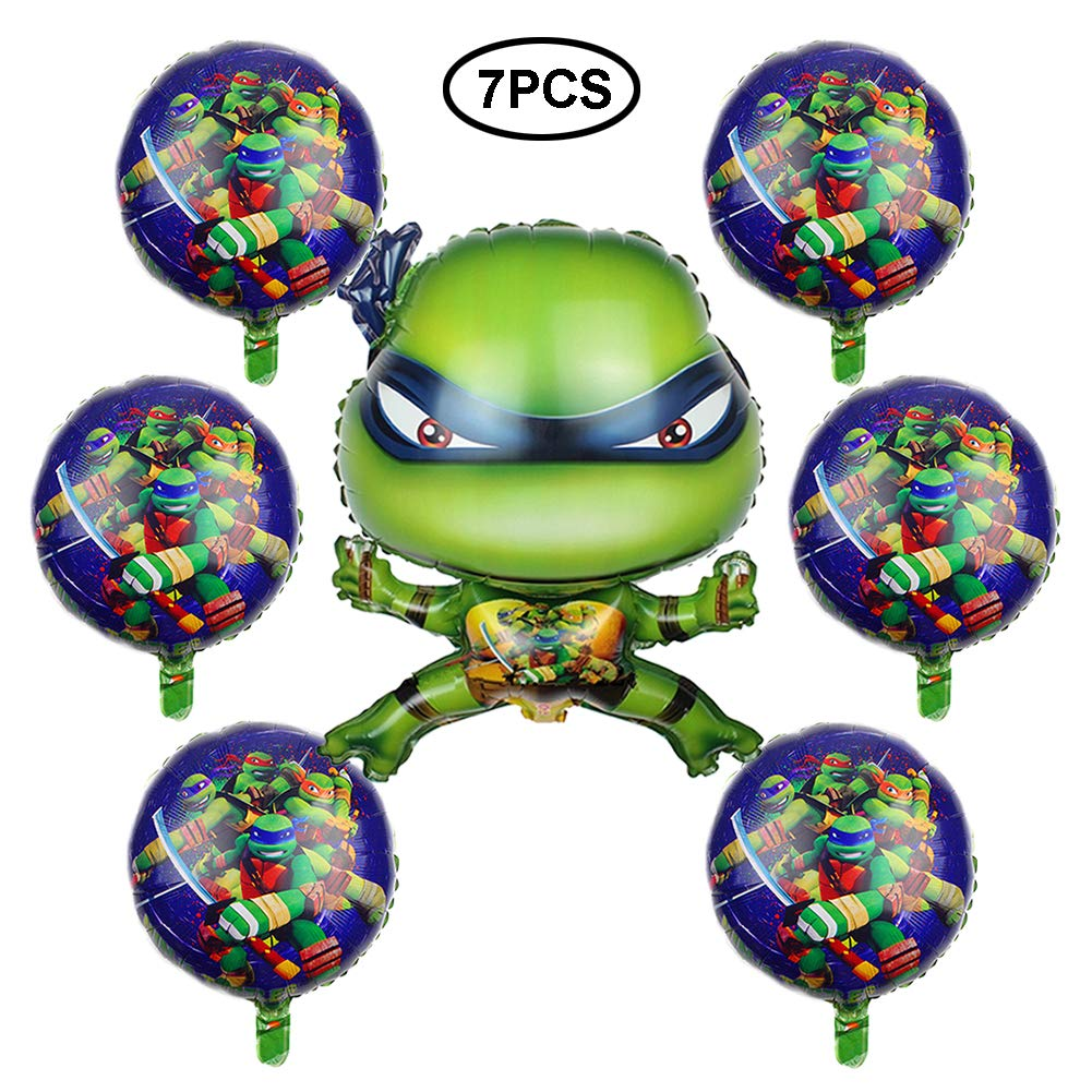Teenage Mutant Ninja Turtle balloons for Kids - 7 Foil Toy balloon, Best Birthday Party Ninja Turtles Supplies Favors for Goodie Bag, Gifts, etc