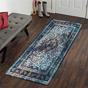 LIVEBOX Area Rug Runner, 2x5ft Faux Wool Vintage Bohemian Ombre Navy and Light Blue Distressed Area Rug Traditional Persian Oriental Design Floor Mat for Entryway Laundry Bedroom Bathroom Carpet