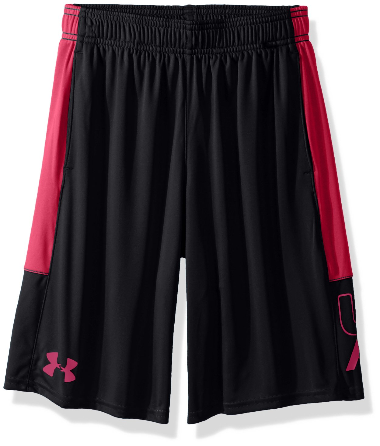 Under Armour Boys Instinct Shorts,Black /Tropic Pink Youth X-Small