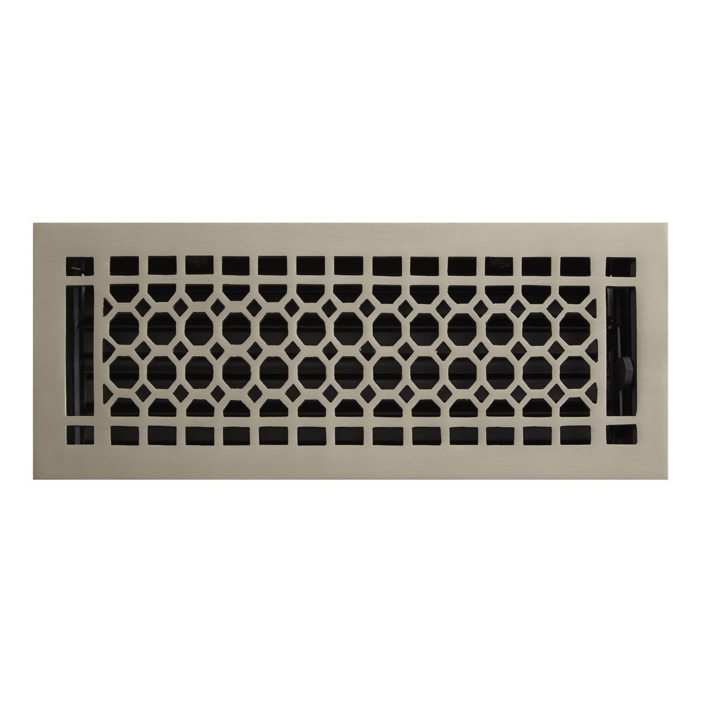 Naiture 8'' x 12'' Brass Floor Register Honeycomb Style Brushed Nickel Finish