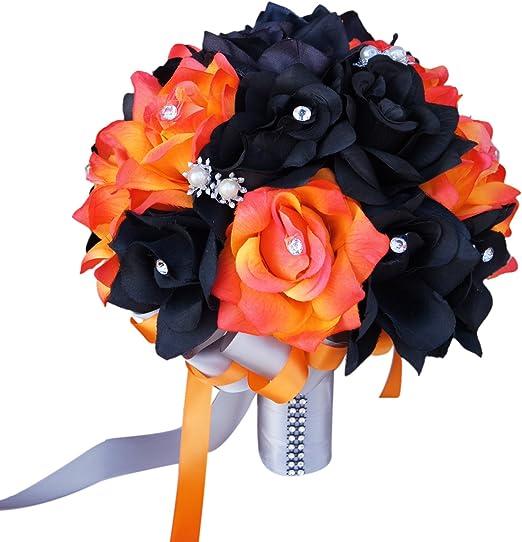 "Black,Red,Silver-10/"" Bridal bouquet-silk flower wedding"