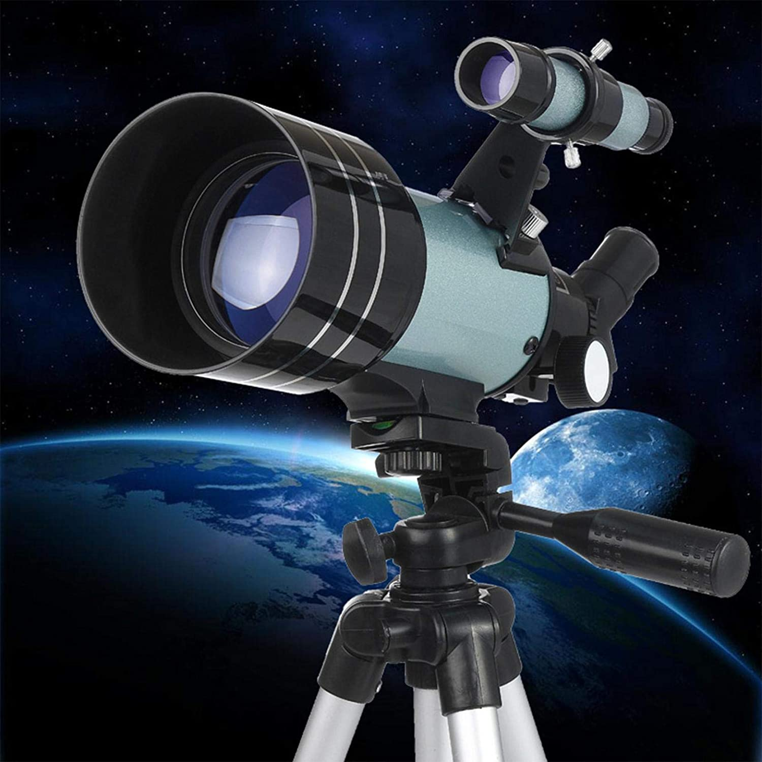 Astronomy Telescopes for Adults & Kids, 70mm Aperture Astronomy Beginners Telescopes with F30070 High Bracket Professional Stargazing, High Definition Night Vision Entry Telescope (Sliver)