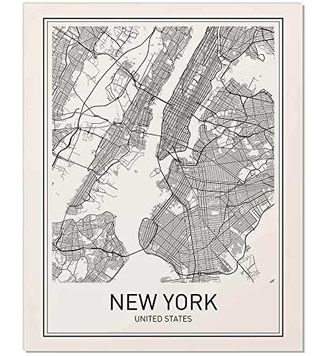 Amazon.com: New York Poster, New York Map, New York City, City Map ...