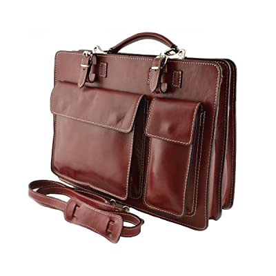 Dream Leather Bags Made in Italy Genuine Leather Leather Briefcase Color Red