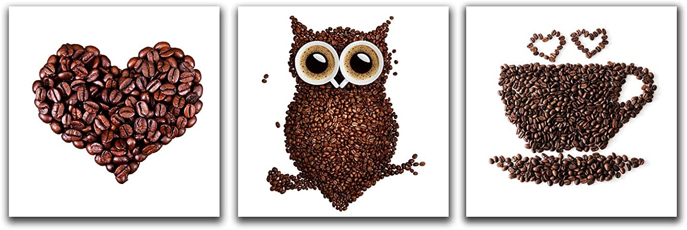 Amazon Com Purple Verbena Art Modern Giclee Coffee Bean Owl Heart Picture Prints Framed Canvas Wall For Home Decor 3 Panels Theme Photos Paintings Kitchen Dinner Room