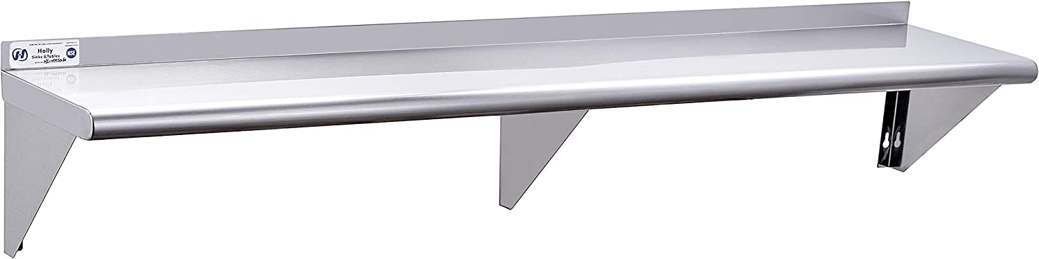 Stainless Steel Shelf 12 x 60 Inches, 315 lb, Commercial NSF Wall Mount Floating Shelving for Restaurant, Kitchen, Home and Hotel