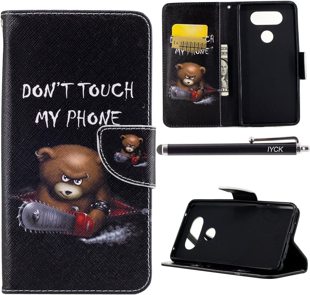LG V20 Case, iYCK Premium PU Leather Flip Folio Carrying Magnetic Closure Protective Shell Wallet Case Cover for LG V20 with Kickstand Stand - Electric Saw Bear