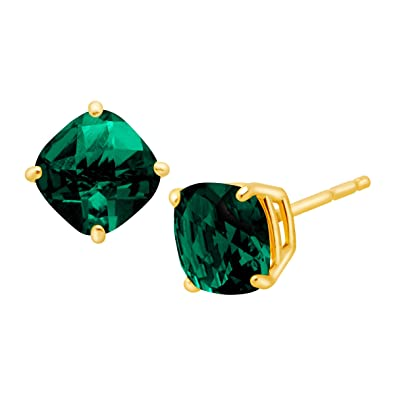 1 1 5 Ct Cushion Cut Created Emerald Stud Earrings In 14k Gold