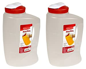 Rubbermaid 085275708066 1776501 3-Qt. Seal N' Saver Pitcher/Bottle (Pack of 2), 2 pack, Red