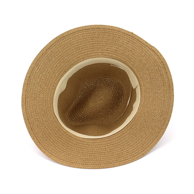 Hot Fashion Summer Casual Unisex Beach Jazz Large Brim Panama Hat Paper Straw Women Men Cap Black Ribbon