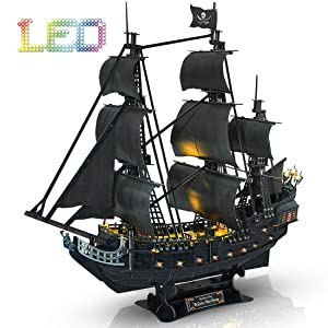 CubicFun 3D Puzzles Pirate Ship with LED Light Queen Anne's Revenge, Sailboat Vessel Model Kits Puzzles for Adults and Children, 340 Pieces