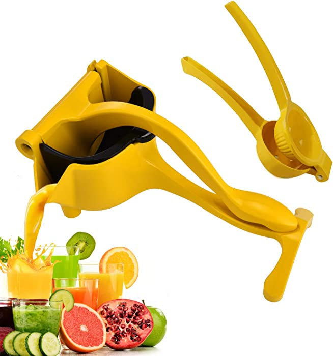 Manual Fruit Juicer lemon squeezer press Aluminum alloy Heavy Duty Single Citrus Hand Squeezer lime squeezer,orange juice, apple juice (YELLOW)