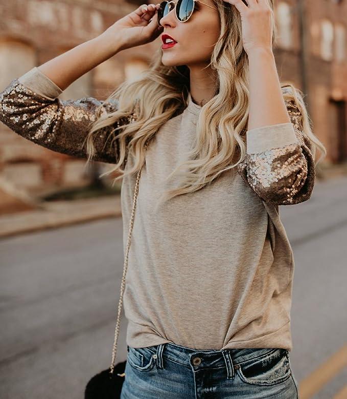 Sentao Donna Elegante Maglietta Manica Lunga Paillettes Giuntura Felpa Pullover Top