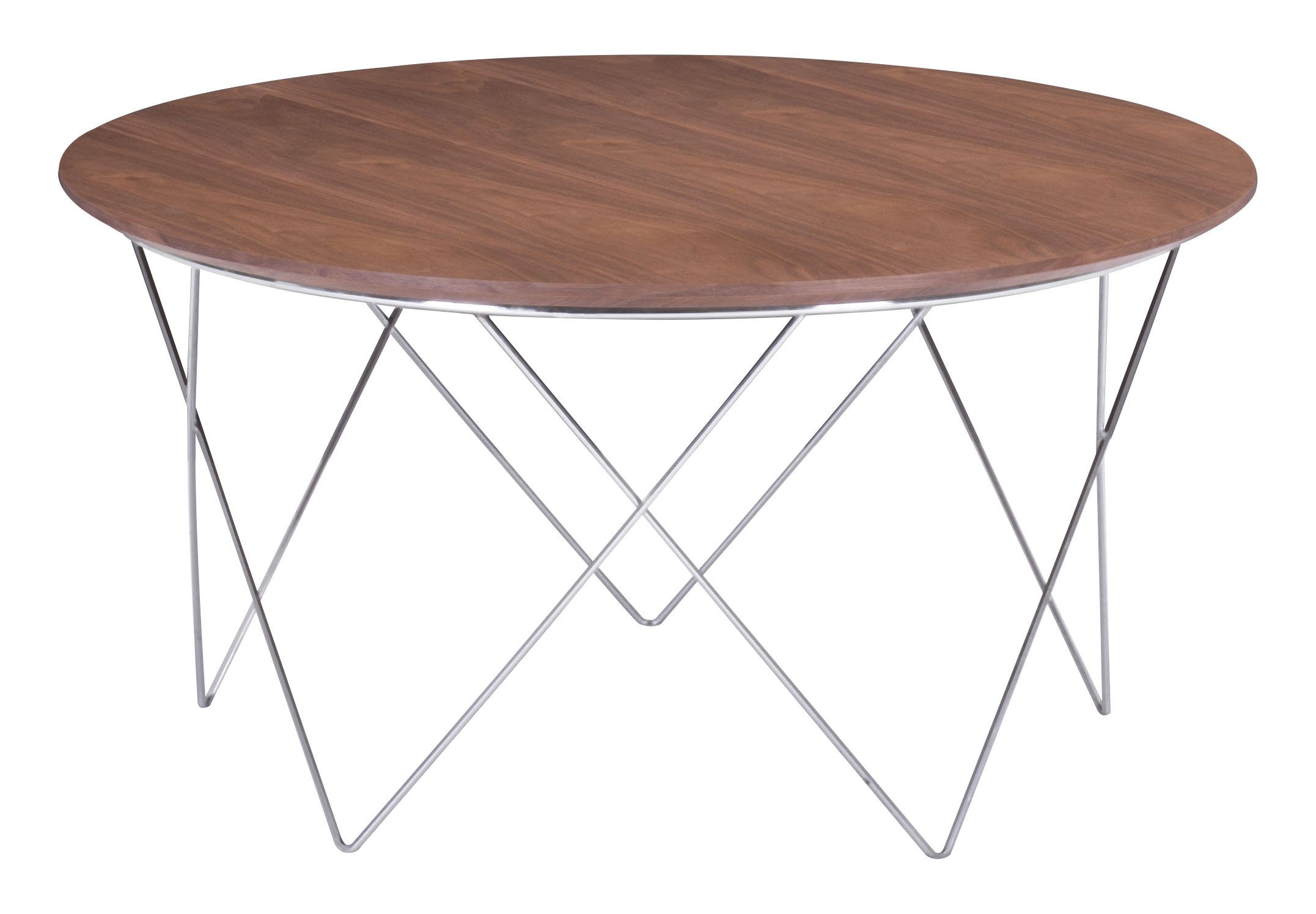 Zuo 404070-ZuoMod Macho Coffee Table, Walnut - Product Type: Coffee table Product Finish: Chromed Steel Year Introduced: 2014 - living-room-furniture, living-room, coffee-tables - 71E%2Btu eXFL -