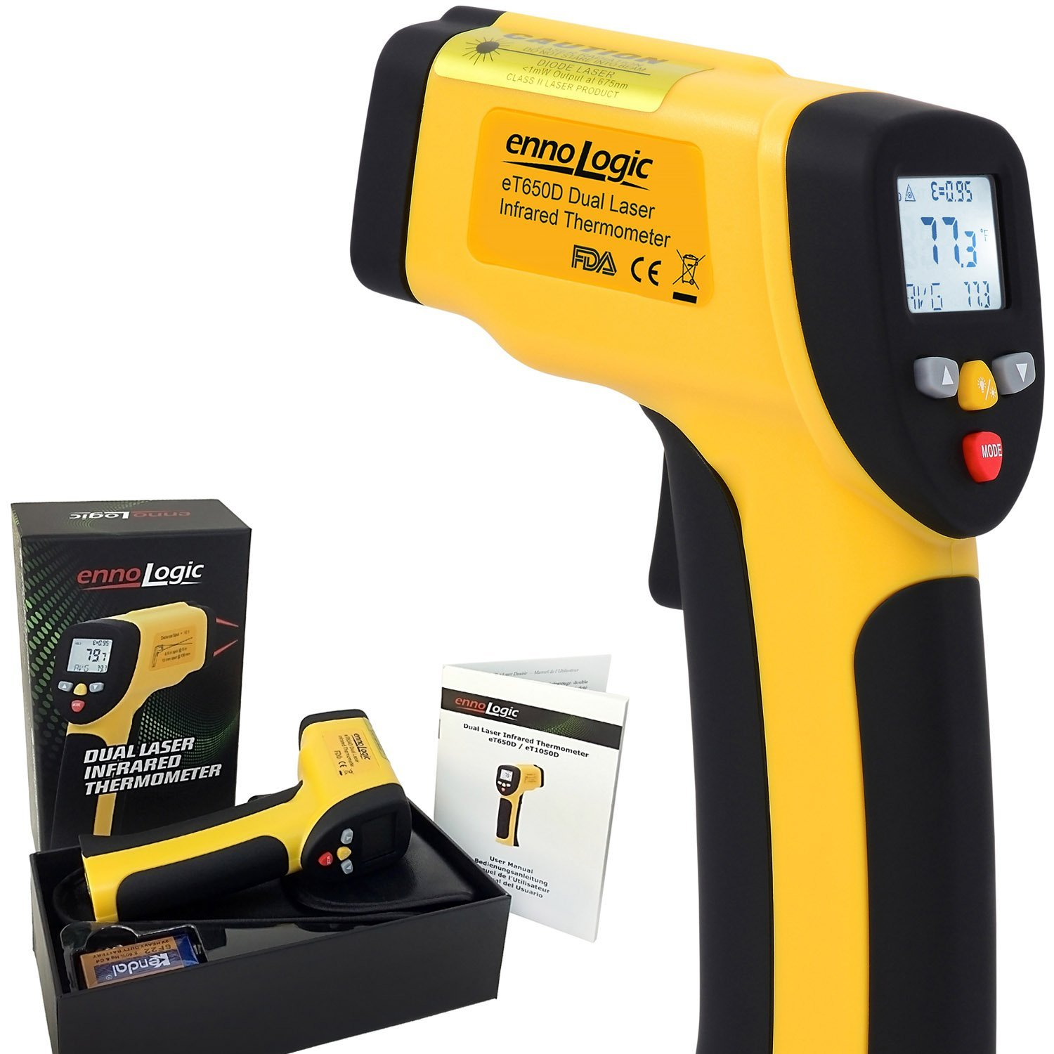 ennoLogic Temperature Gun Dual Laser Non-Contact Infrared Thermometer -58°F to 1202°F - NIST Option Available - Accurate Digital Surface IR Thermometer eT650D