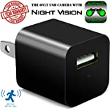 Night Vision Hidden Security Camera USB Wall Charger - Motion Detection Phone Charger Spy Camera with Infrared - Nanny Spy Camera Adapter 1080 Full HD – Support Up To 32GB SD Memory Card