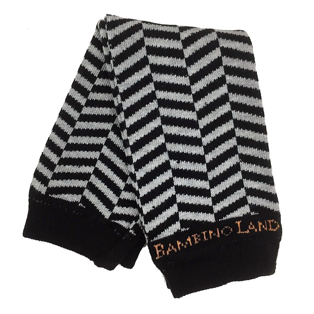 Bambino Land Leg Warmers Herringbone Chevron Black /& Gray