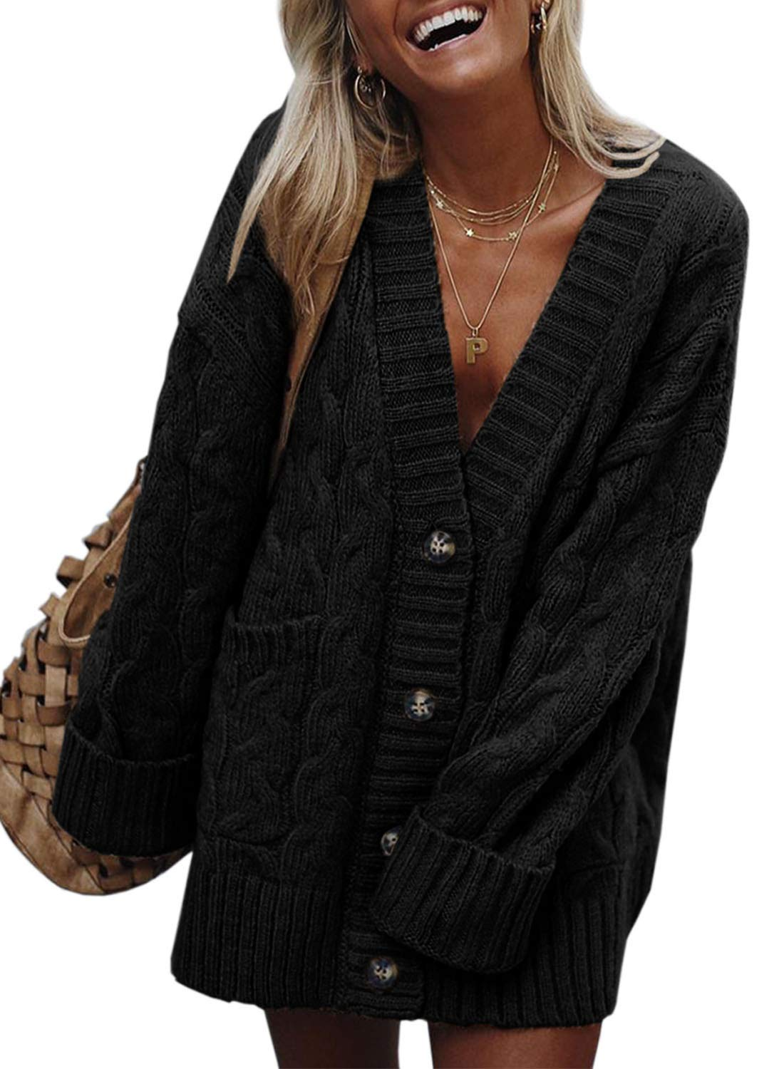 SIDEFEEL Women Open Front Pocketed Cardigan Sweater Button Down Sweater Coat Medium Black by SIDEFEEL