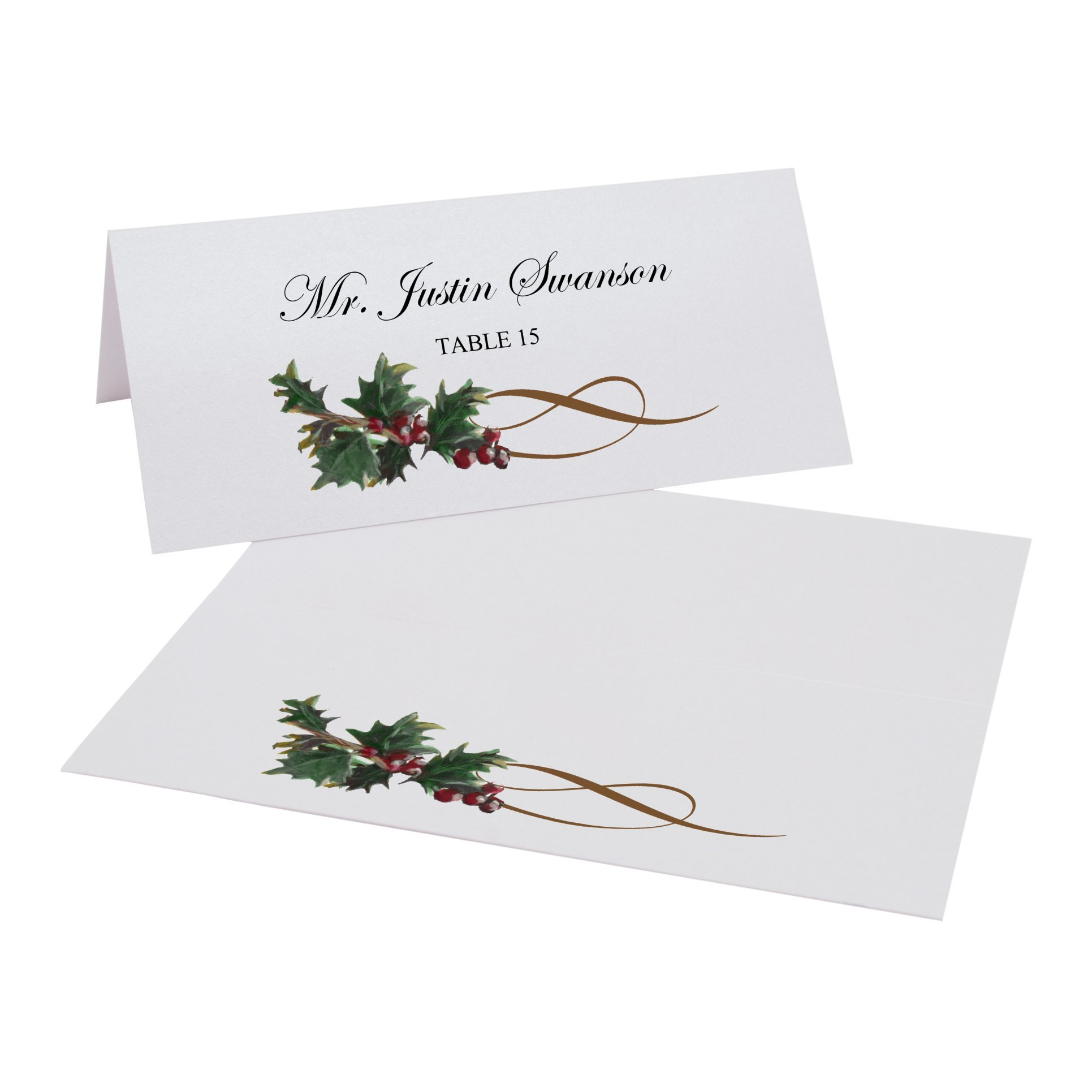 Holly Swirl Place Cards, Pearl White, Set of 375 by Documents and Designs