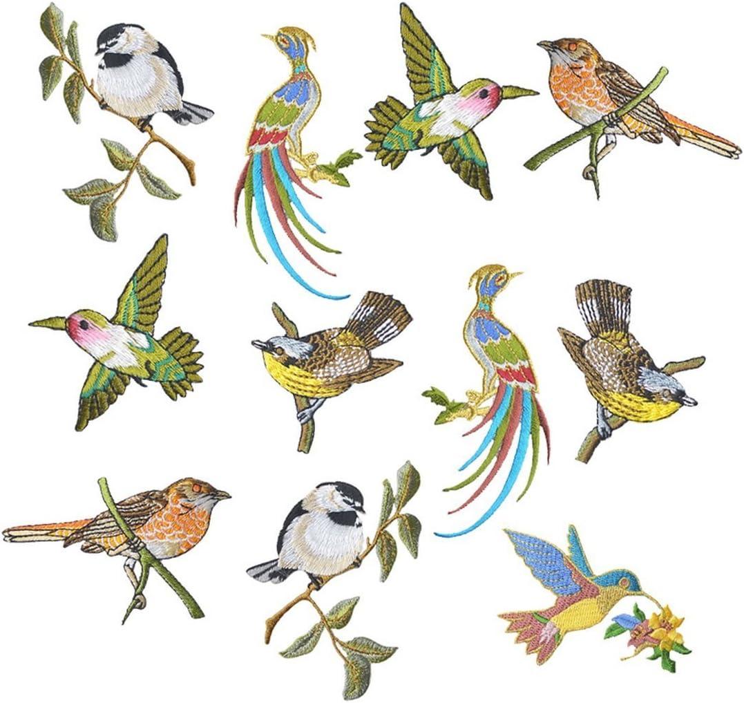 Fablcrew. 11 Parches termoadhesivos Bordados de pájaro para decoración de Ropa, Camisetas, Vaqueros, Chaquetas, Bolsos.