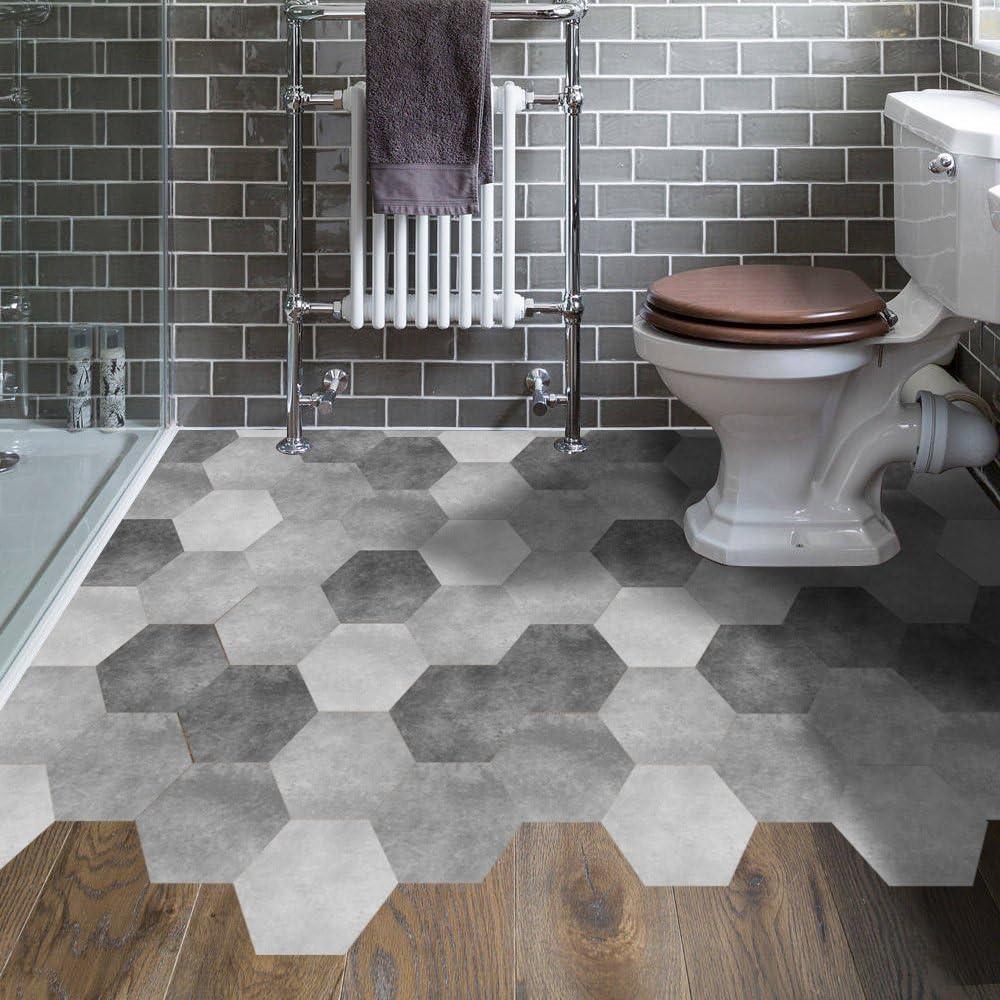 Amazon Com Hexagonal Floor Tile Stickers Non Slip Gray Decal Peel And Stick For Kitchen Bedroom Bathroom Balcony Waterproof Vinyl Kitchen Dining