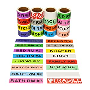 960 Count Home Moving Color Coding Labels - 14 Different Living Spaces Packing Boxes Moving Stickers + 1 Roll Fragile Stickers + 1 Roll Blank Label for Customization - 16 Rolls Total, 60 Labels/Roll
