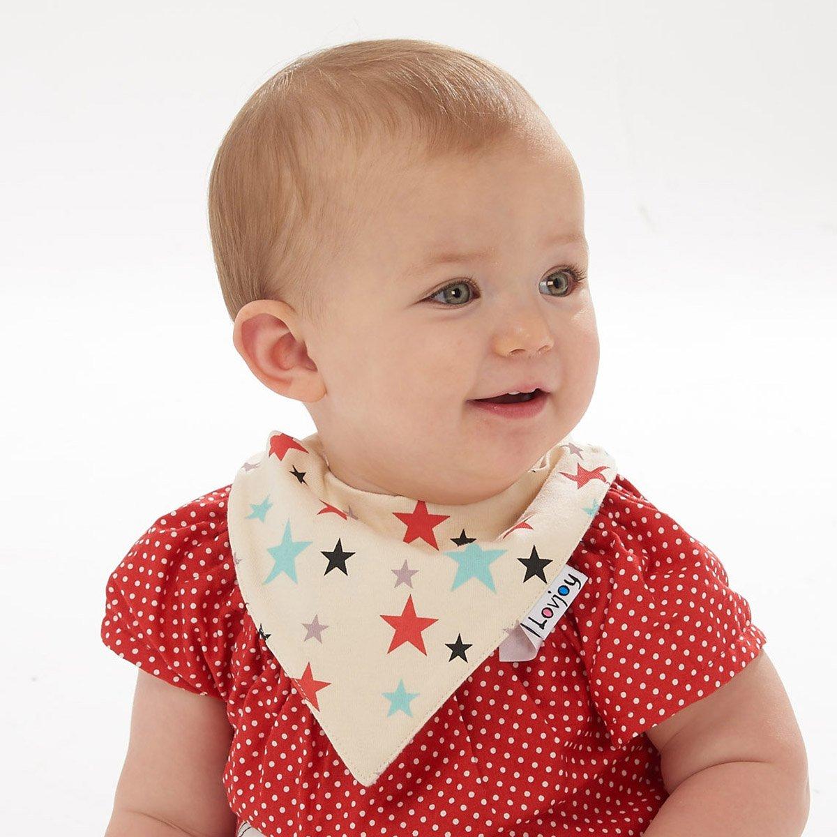 Lovjoy Bandana Baby Halstuch L/ätzchen Dreieckstucher Mehrfarbig 10 F/ür 0-3 Jahre 4er Pack