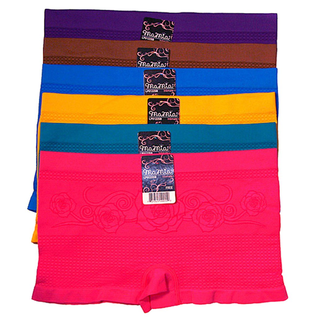 Sakkas Women's Seamless Stretch Boy Short Panties - Assorted Color 6 Pack 5055460168871