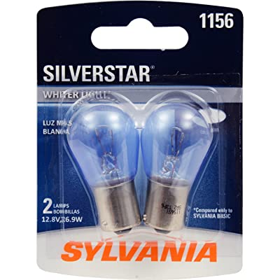 SYLVANIA - 1156 SilverStar Mini Bulb - Brighter and Whiter Light, Ideal for Center High Mount Stop Light (CHMSL), Daytime Running Light (DRL), and more (Contains 2 Bulbs): Automotive