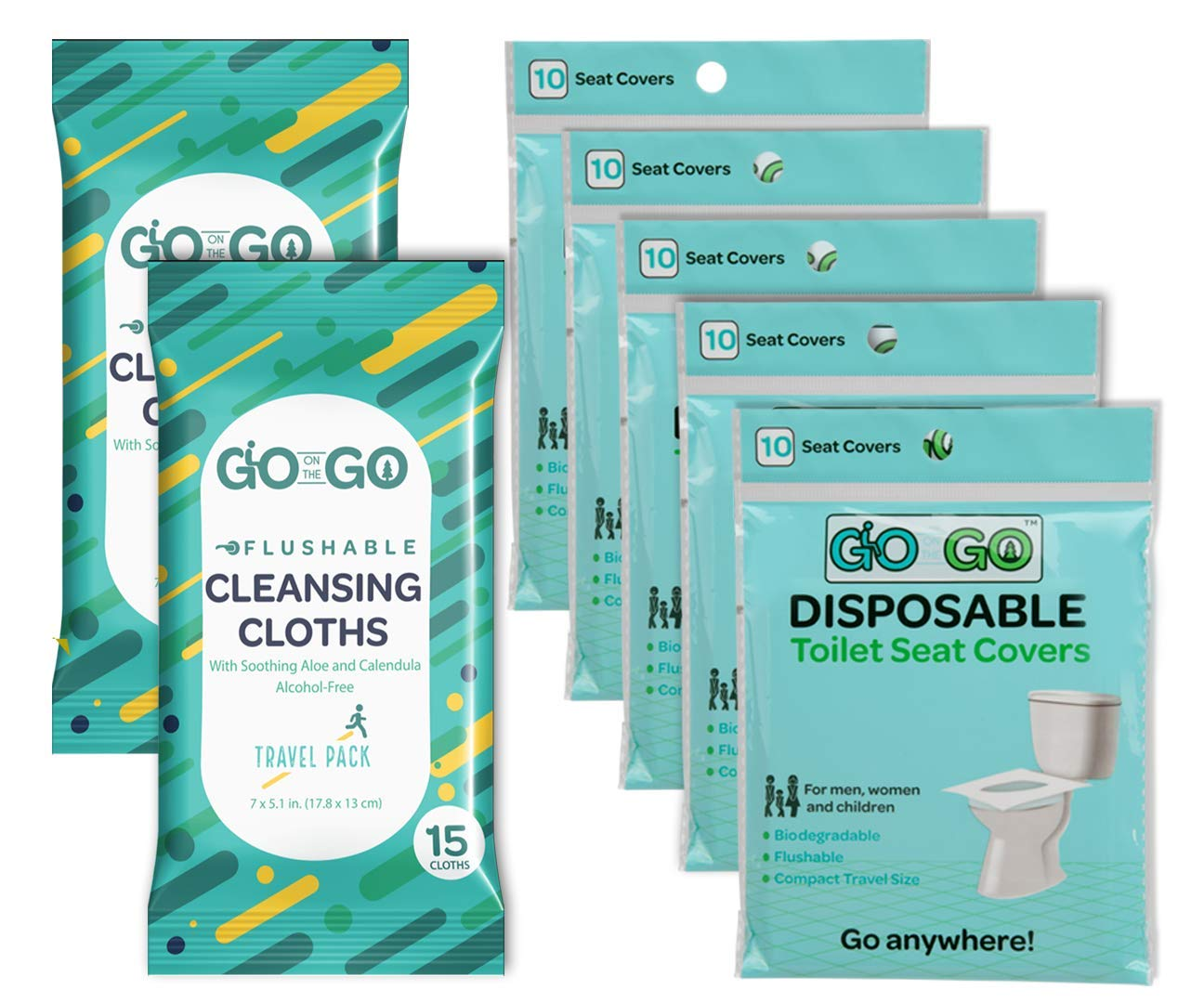 Travel Toilet Seat Covers by Go on the Go - 50 Flushable & Disposable Toilet Seat Covers for Travel Accessories, Kids & Toddler Potty Training (5 Packs of 10) Plus 30 Free Flushable Wet Wipes Included