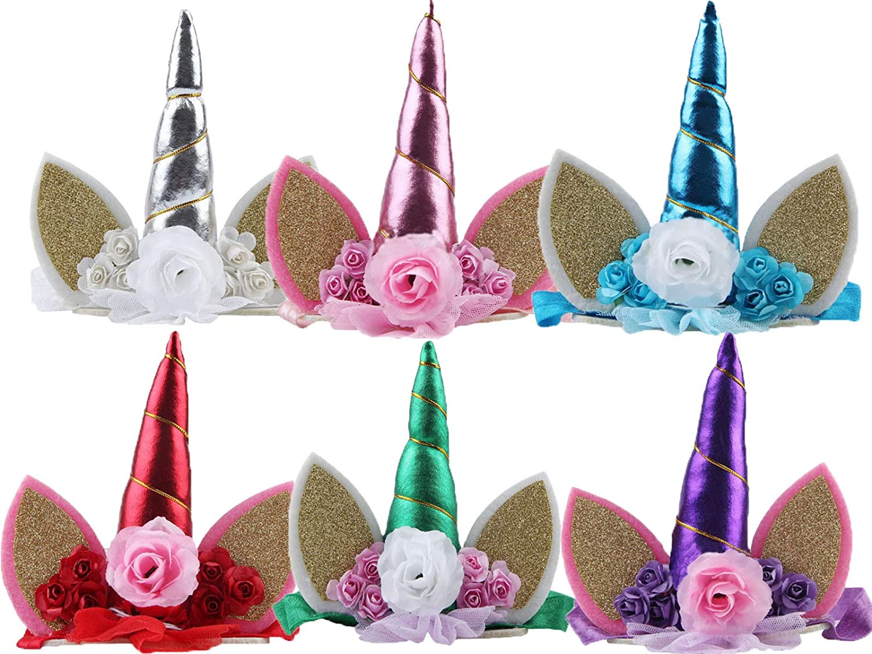 E /& L Silver Unicorn Horn Flower Dressing Headband Birthday Decoration Fancy Dress Girl Party Decoration