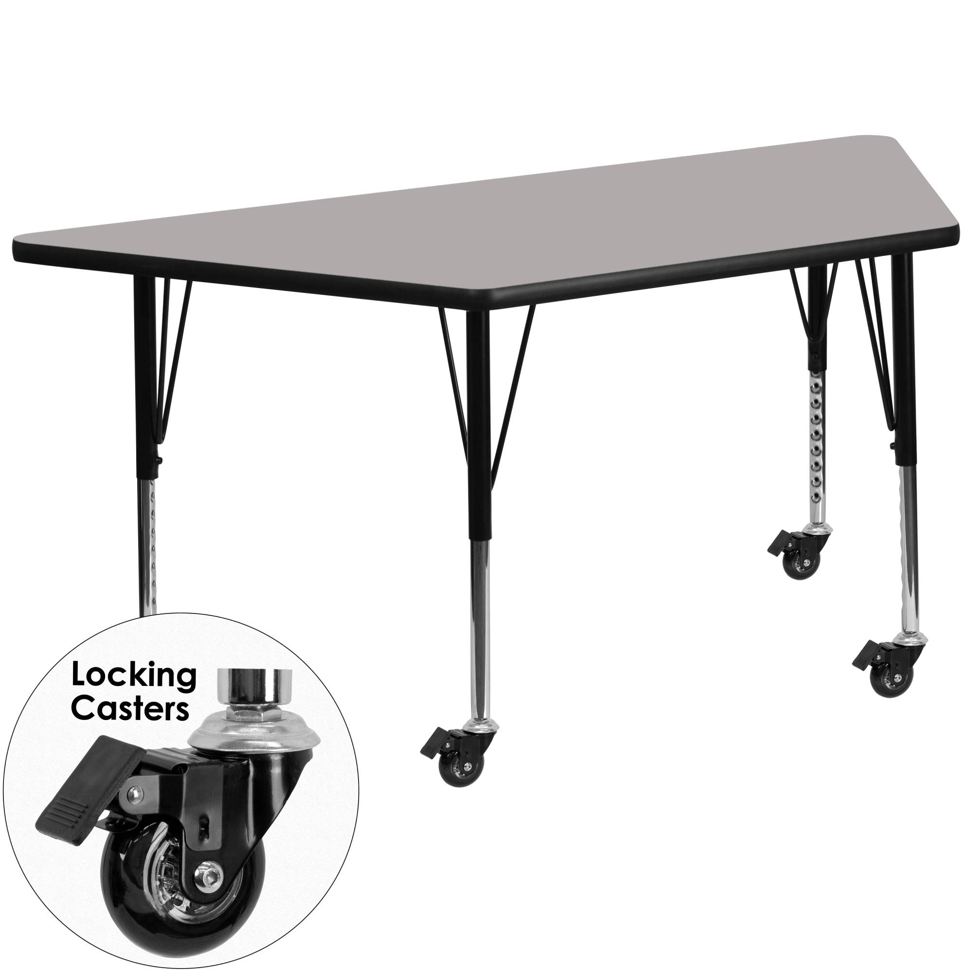 Delacora XU-A2448-TRAP-GY-H-P-CAS-GG 25-1/2 Inch Wide Steel Framed Wood Top Adjustable Activity Table with Locking Casters
