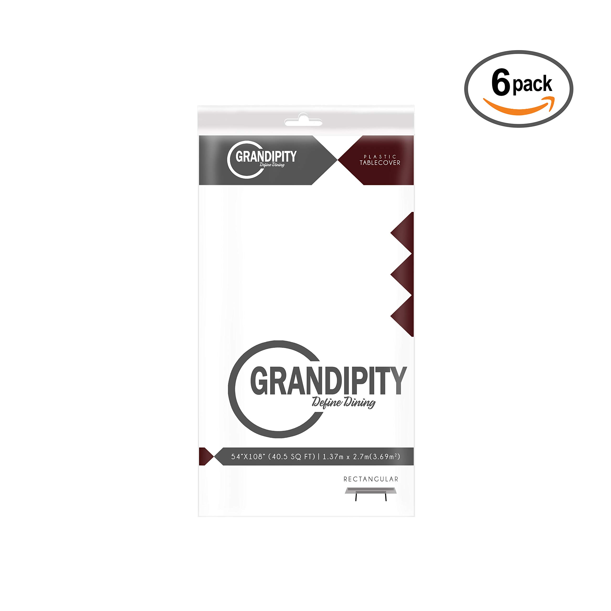 White 6 Pack Premium Disposable Plastic Tablecloth 54 Inch. x 108 Inch. Rectangle Table Cover By Grandipity by Grandipity (Image #3)