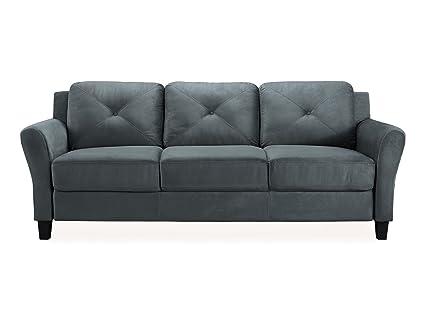 Gentil Pearington Merango Microfiber Living Room 3 Seat Sofa, Dark Gray