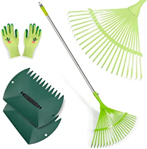 Hortem Leaf Rake, Adjustable Garden Rakes Set Include 24-Teeth Aluminum 31