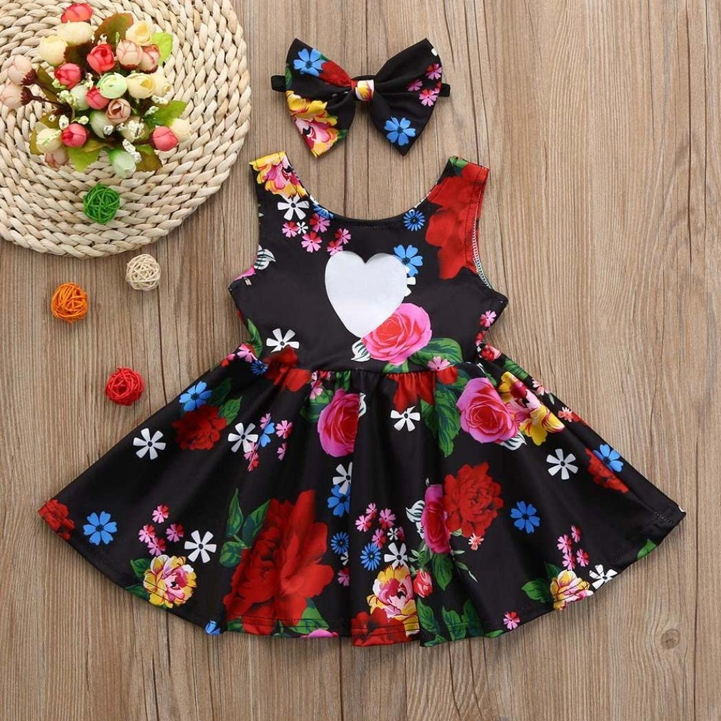 Winsummer Newborn Baby Girl Clothes Floral Bowknot Princess Party Dresses With Headband Sundress Outfits