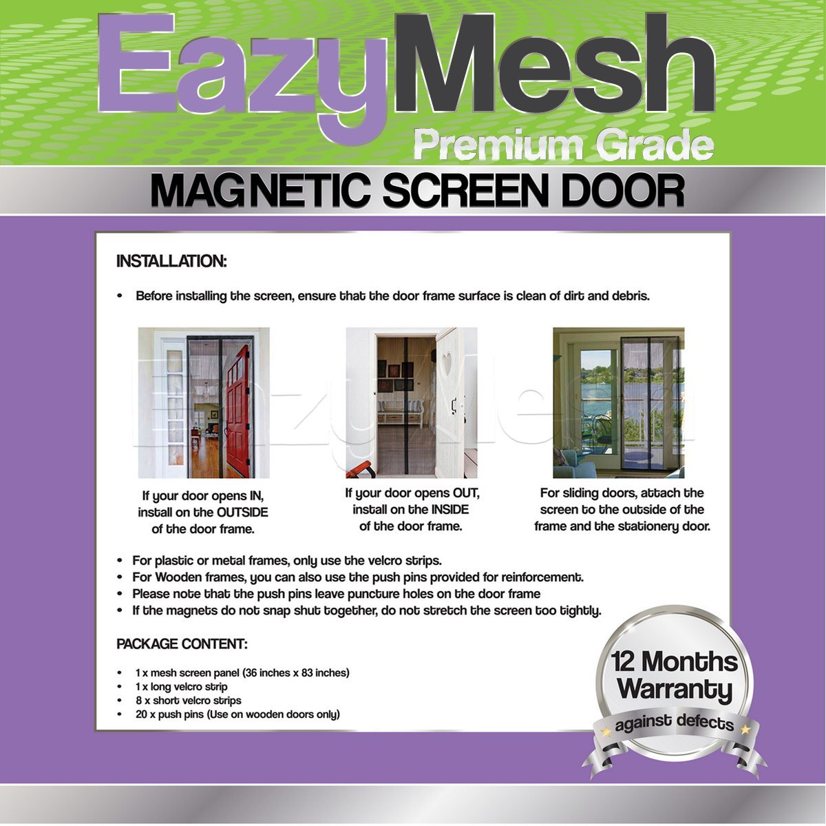 Eazymesh polyester mesh magnetic screen door with full length sewn eazymesh polyester mesh magnetic screen door with full length sewn in velcro seals 36 x 83 inches amazon vtopaller Image collections