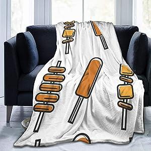 CaMoloMaC Fleece Blanket Korean Street Food Meat Potato Microfiber Lightweight Super Soft Cozy Luxury Bed Linen Sofa Warm Yoga Mats Blankets Throw Size 50x40 60x50 80x60 Inch