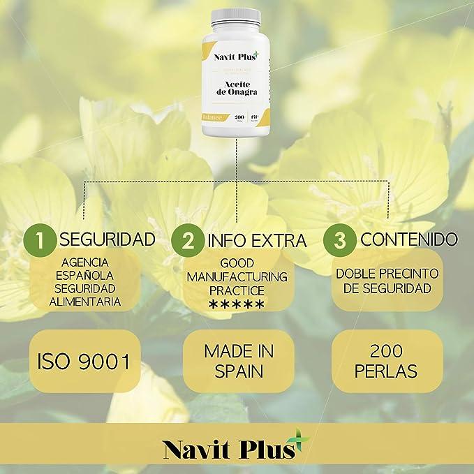 Aceite de Onagra 10% GLA + Vitamina E NAVIT PLUS | 200 perlas para ...