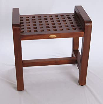 teak wood shower bench plans corner stool uk contemporary espalier lattice pattern adjustable height seat