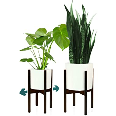 Fox & Fern Plant Stand for Indoor - Adjustable Width 8  to 12  - Dark Bamboo - EXCLUDING Planter