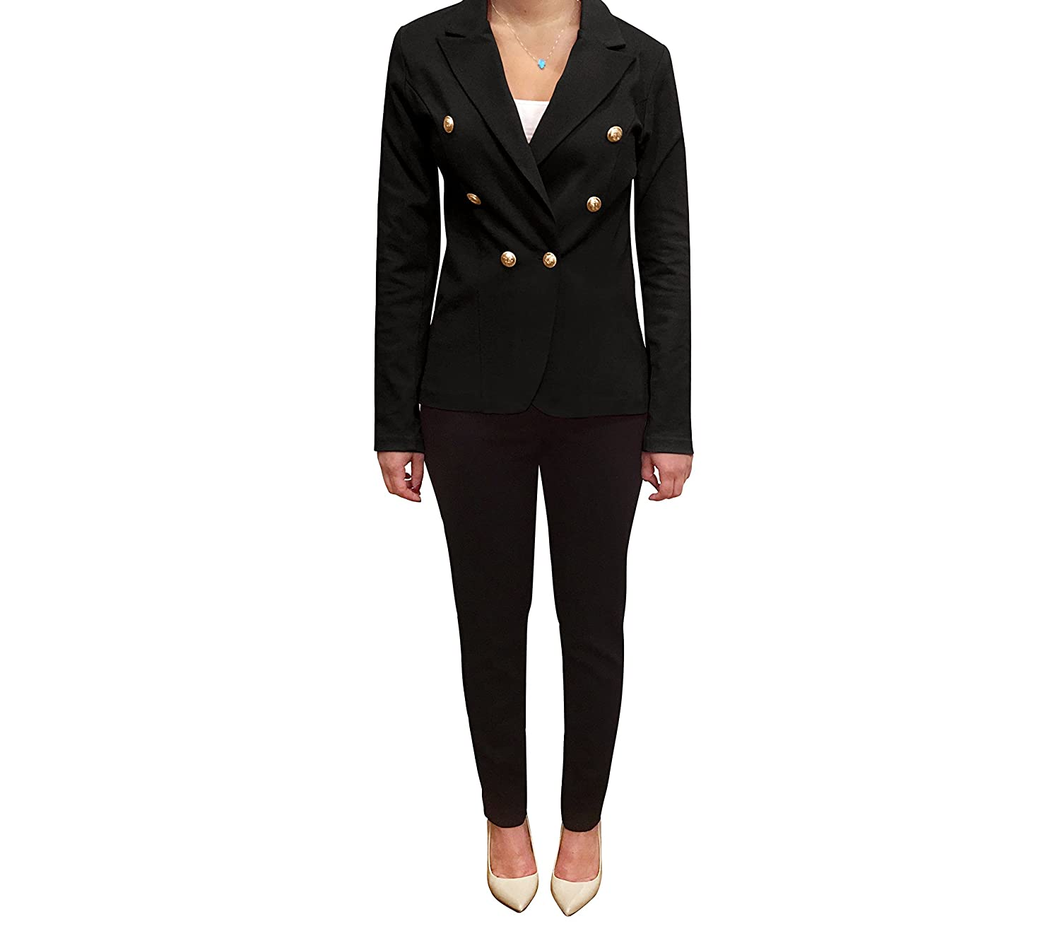 Black OrlyCollection Double Breasted Casual Work Office Blazers for Women Jacket with gold Button on The Sleeves Made in USA