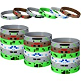 24 Pieces Pixelated Miner Crafting Style Character Wristband Bracelets Silicone Wristbands, Pixelated Theme Bracelet Designs