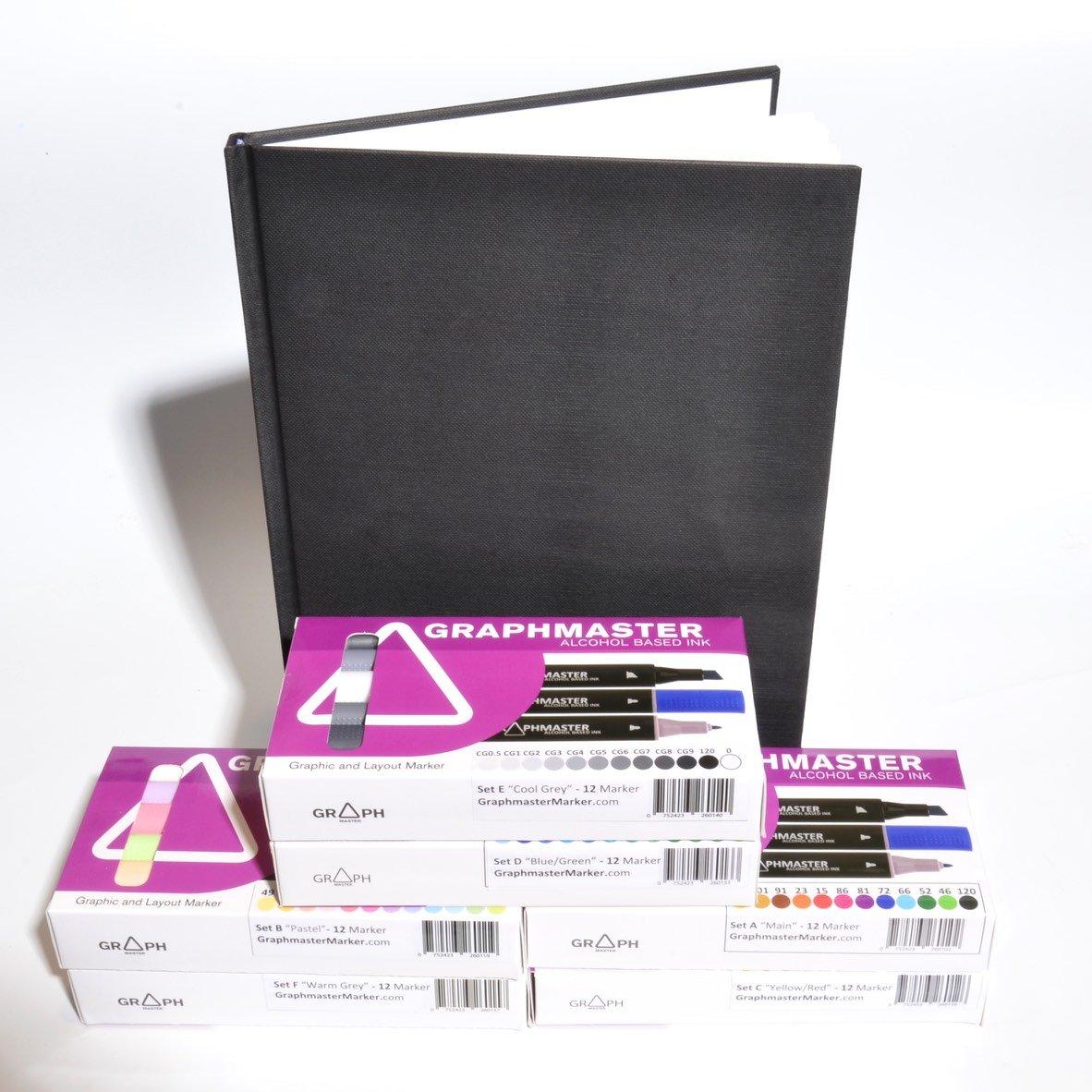 Graphma STER Mega Pack 72 Alcohol Marker + nero Book