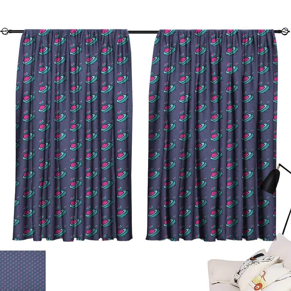 Pattern16 W63\ Beihai1Sun Kids Light Darkening Curtains Pattern with Alien Flying Devices Cute Kids Doodle Sketch Astronomy Cartoon Curtain Kids Pink Aqua Cadet bluee W63 x L45