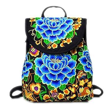 Bordados florales Mochila Vintage Bolso étnico niñas Dama única mujer mochilas escolares mochila de viaje azul bolsas de gran tamaño: Amazon.es: Deportes y ...
