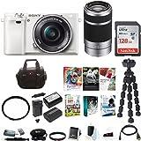 Sony Alpha a6000 Mirrorless Camera (White) w/ 16-50mm & 55-210mm Lens + 128GB SD Bundle
