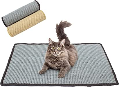 Downtown Pet Supply Natural Cat Scratching Mat with Premium Sisal, Exerciser Mat Toy for Kitty with Non Slip Backing (Gray, Small)