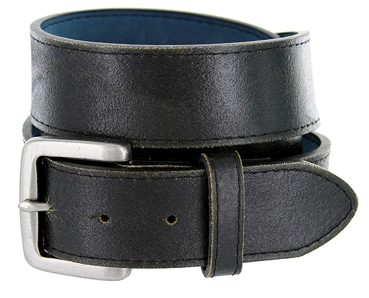 BBBelts Men 38 mm Wide Worn Out Look Genuine Leather Stitched Rustic Buckle Belt