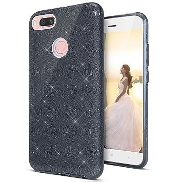 Coovertify Funda Purpurina Brillante Negra Huawei P Smart, Carcasa Resistente de Gel Silicona con Brillo Negro para Huawei P Smart (5,65